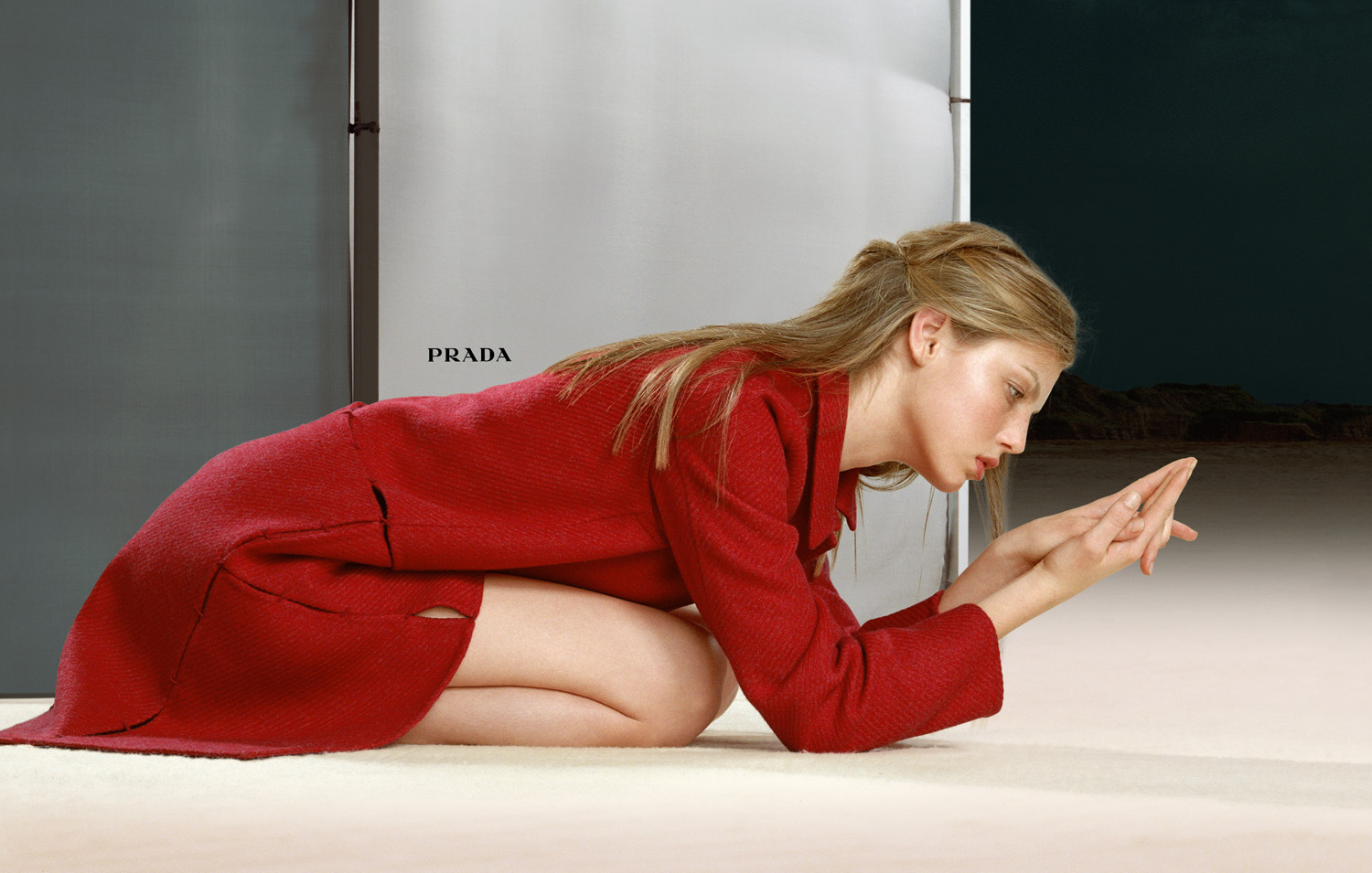 angela lindvall prada red coat advertising by norbert schoerner