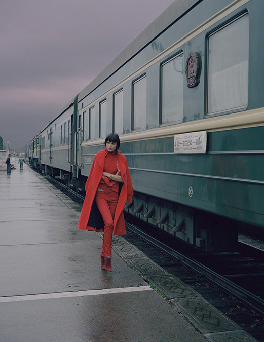 red coat rie rassmusen vogue train trans siberian express by norbert schoerner