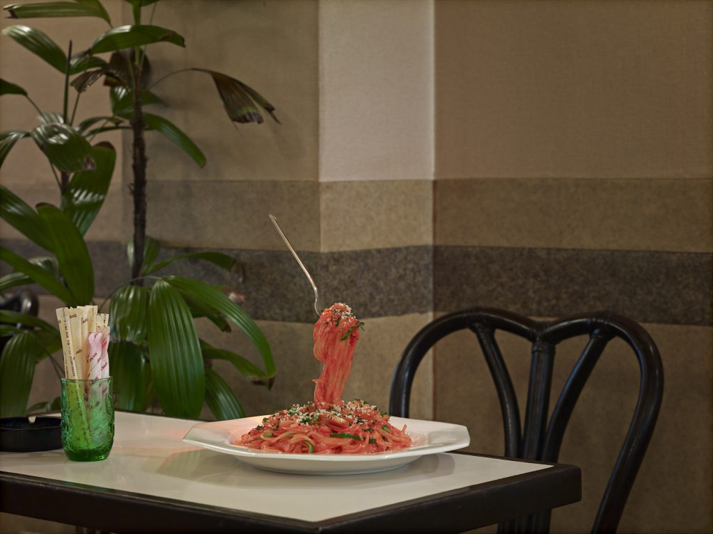 nearly eternal, plastic food, noodles and floating fork, norbert schoerner