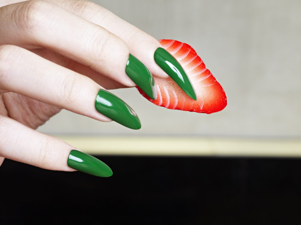 nearly eternal, plastic food, strawberry and long green nails, norbert schoerner