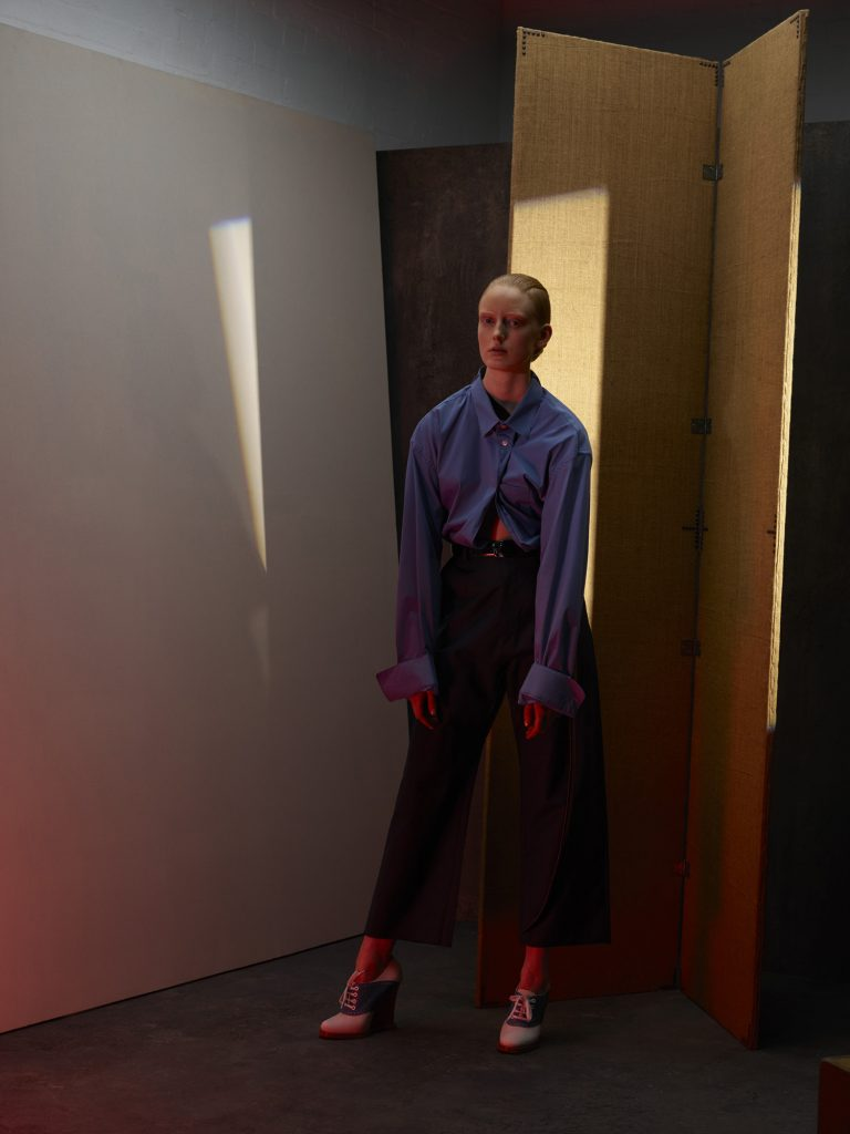 norbert schoerner, jil sander, graphic light, fashion, set design, blue shirt
