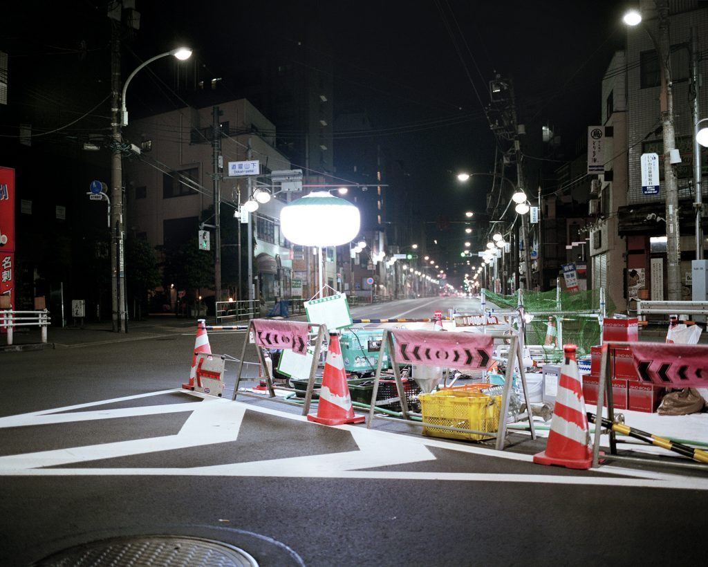 tokyo, night time, roadworks, cinematic