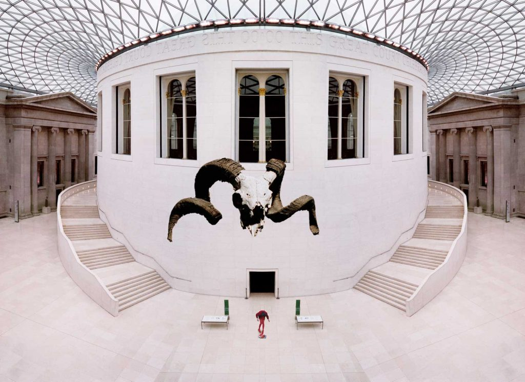 wide angle view of the british museum empty, architecture Norman Foster, photographed by Norbert Schoerner